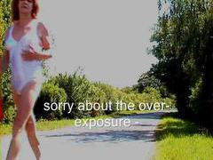 Tgirl walks along the road in her undies videos