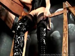 Beautiful dominant shemale in black latex boots movies at sgirls.net