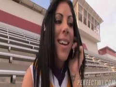 Cute cheerleader fingered and sucking videos