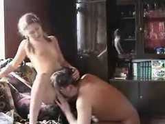 Lusty girl in pigtails fucks older man videos