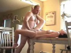 Fucking his girl on the dining room table movies at sgirls.net