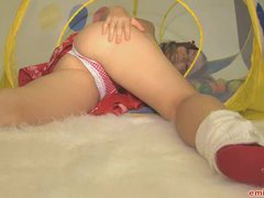 Red and white panties on teen videos