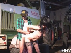 Farmer fucks a hottie in black stockings movies at lingerie-mania.com