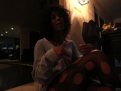 Cute black pornstar gives an interview videos