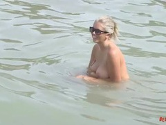 Big tits come out at a public beach tubes
