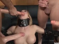 Slut in collar and stockings boned in a gangbang videos