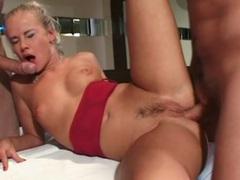 Hot looking skinny slut boned in a dp videos