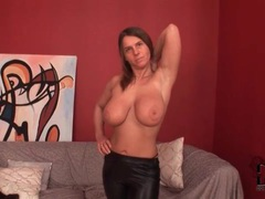 Busty chick shows off her tight leather pants movies at kilopics.net