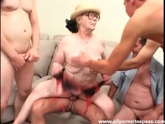 Wrinkled old lady boned in a gangbang videos