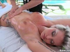 Beautiful blonde with hot body gets a sexy massage movies at freekiloporn.com