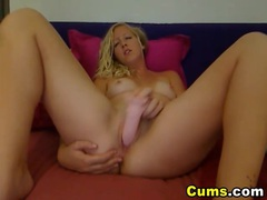 Blonde strokes a massive dildo inside her pussy hd videos