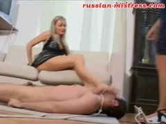 Russian girls in dresses trample him roughly movies at lingerie-mania.com