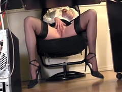 Leggy secretary fingering at the office in nylons movies at lingerie-mania.com