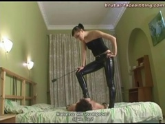 Skintight latex pants on his mistress videos
