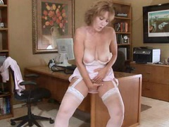 Horny office secretary milf masturbation movies at sgirls.net