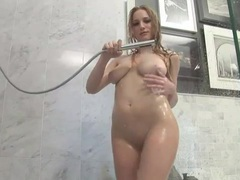 Big natural boobs blonde solo in the shower movies at kilosex.com