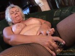 Solo granny in fishnets plays with her pussy videos