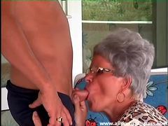 Granny in leopard print sucks his dick videos