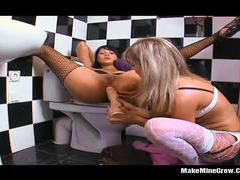 Two hot lesbians play their toys and fucked tubes