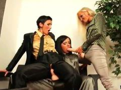 Fully clothed strapon sex with three lesbians videos