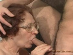Granny nerd in glasses sucks and fucks videos