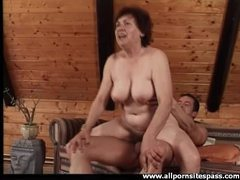 Cock gobbling old lady sits on his hard dick videos