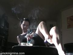 Noir style smoking with sexy girl in a dress videos
