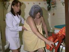 Bath for gray haired granny from nurse movies at find-best-panties.com