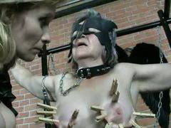 Clothes pins and pain for submissive granny videos