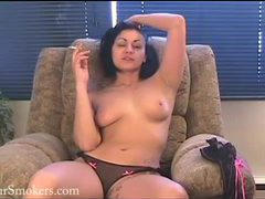 Short haired cougar has a smoke topless videos