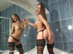 Sexy black stockings on dildo sex girl videos