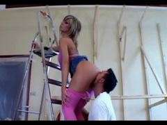 Babe in pink pantyhose arouses construction worker videos