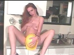 Redhead in a construction hat dildo fucks movies