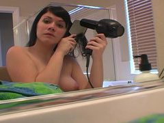 Post shower hair care with topless girl movies at kilosex.com