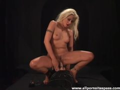 Wet pussy sits on the dildo machine videos