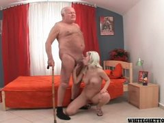 Grandpa getting pleasured by busty blonde babe movies at sgirls.net
