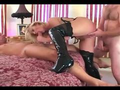 Double penetration in a corset stockings and boots videos