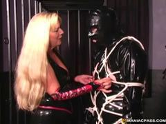 Kinky blonde dominatrix tieing up her male sex slave movies at sgirls.net
