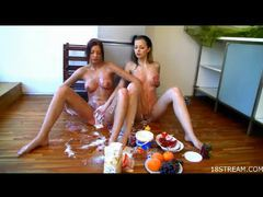 Saucy lesbian ladies getting kinky with food movies at sgirls.net
