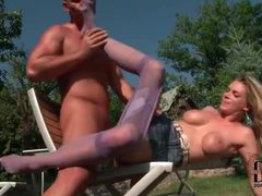 Big tits chick in pantyhose fucked outdoors movies at adipics.com