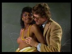 Retro interracial blowjob in the classroom clip
