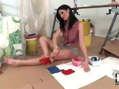 Kinky brunette painting the bottom of her feet videos