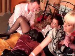 Elegant looking lesbians have a kinky clothed sex party videos