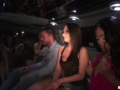 Party babes mingling in a hot limo movies at sgirls.net