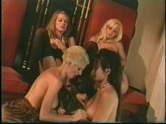 Four retro lesbian chicks in lingerie tease movies at kilosex.com