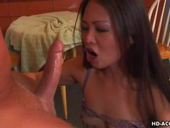 Naughty asian minx chokes herself on big dick tubes at chinese.sgirls.net