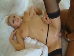 Glamorous slut in stockings laid in the ass tubes