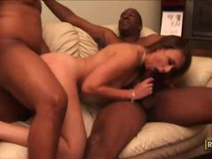 Blindfolded hottie enjoys three big black cocks videos
