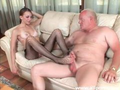 Saucy minx with fishnet stockings gives foot fuck movies at sgirls.net