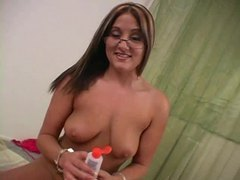 Tattooed babe with glasses performs hot handjob movies at freelingerie.us